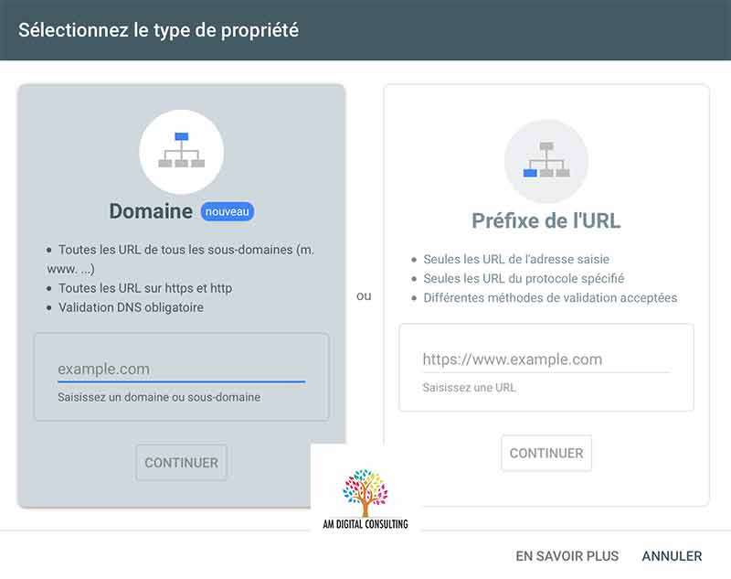 Validation d'une propriété dans la search console avec AM Digital Consulting