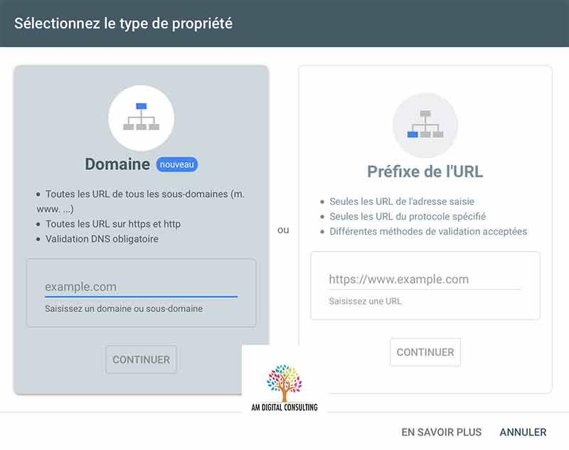Validation d'une propriété dans la search console avec AM Digital Consulting