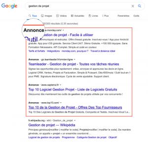 Annonces payantes dans la page de résultat Google
