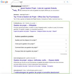 résultats naturels dans la page de résultat Google